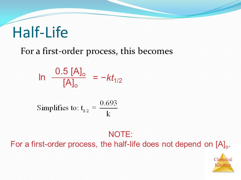 For a first-order process, the half-life does not depend on [A]o.
